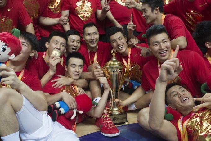 Сборная Китая отмечает победу на Чемпионате Азии – 2015