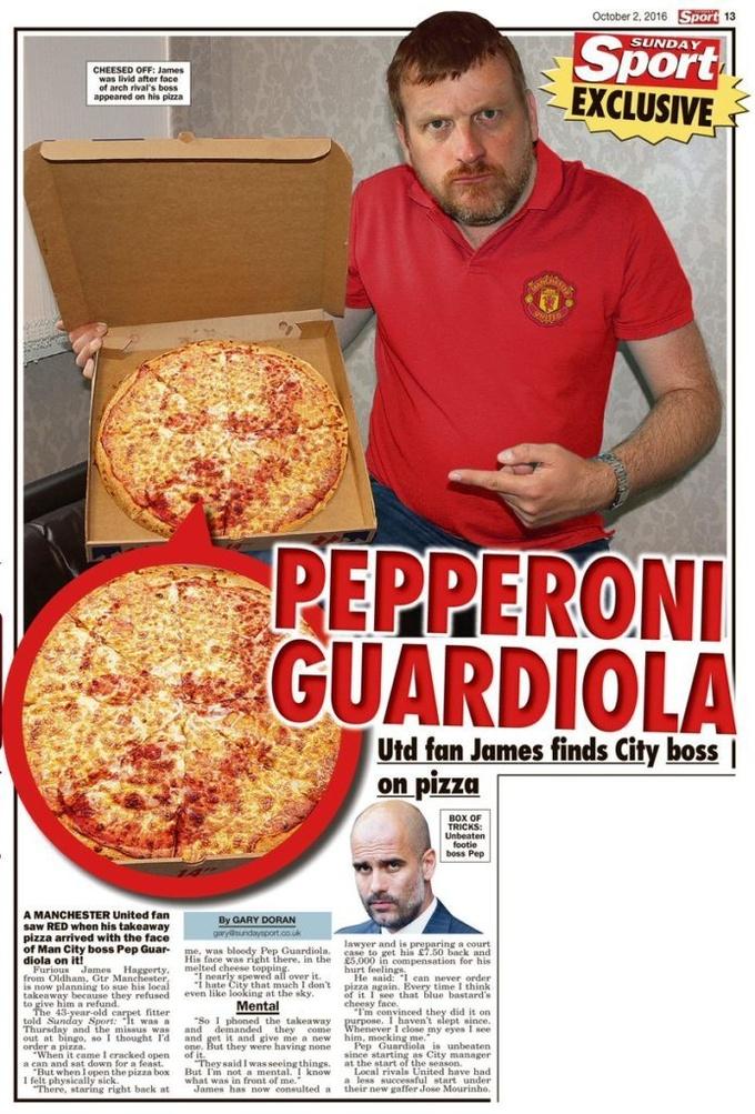 Пицца с лицом Гвардиолы испугала фаната МЮ, который обратится в суд