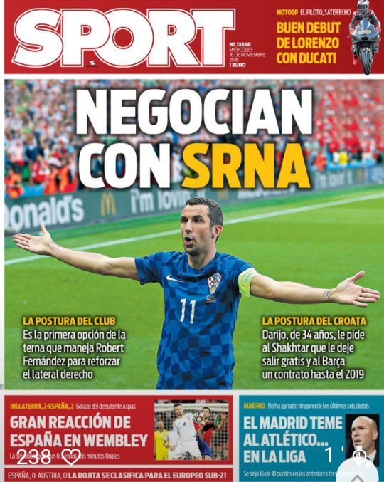 Срна на обложке испанских СМИ: переговоры с Барсой зашли в тупик