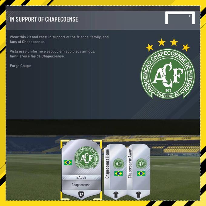 FIFA 17 подарила каждому игроку форму Шапекоэнсе