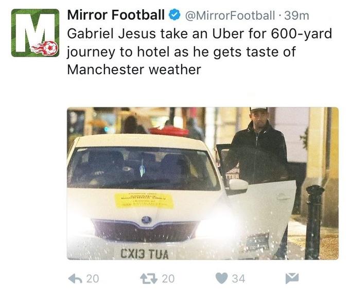 Новичок Ман Сити проехал на такси 500 метров, испугавшись дождя