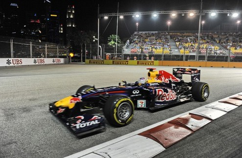 Гран-при Сингапура. Практика № 2. Победа Феттеля