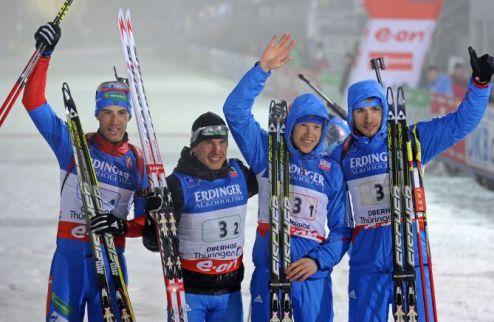 Биатлон. Россия выигрывает мужскую эстафету, Украина — четвертая