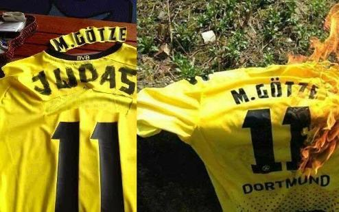 Фанаты Боруссии сожгли футболку Гетце. ВИДЕО