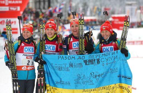 Биатлон. Украина доминирует в женской эстафете